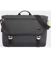 tommy hilfiger men's coated canvas messenger bag black monogram -
