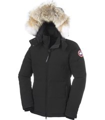 women's canada goose 'chelsea' slim fit down parka with genuine coyote fur trim, size x-large (14-16) - black