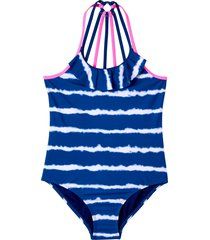 girl's kensie girl kids' tie dye stripe one-piece swimsuit, size 14 - blue