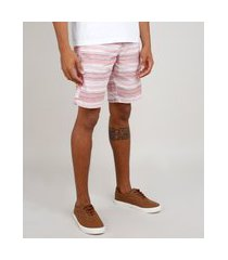 bermuda de sarja masculina listrada com bolso e cordão rosa