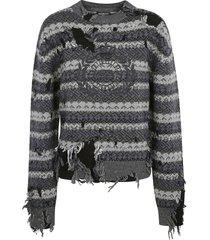 balenciaga destroyed crewneck sweater