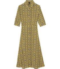 printed collar short sleeve dress in yellow/black