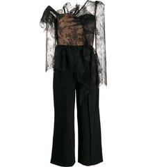 self-portrait lace-panelled jumpsuit - black