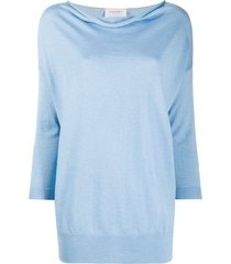 snobby sheep cowl neck knitted top - blue