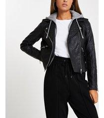river island womens black faux leather biker hoodie