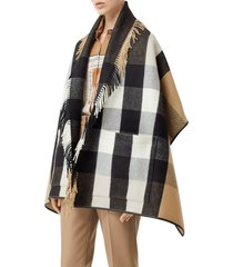 burberry check fringe wool & cashmere cape in archive beige at nordstrom