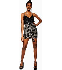 black ruched foil print mini skirt - black
