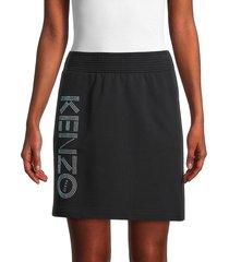 kenzo women's metallic logo skirt - black - size xs