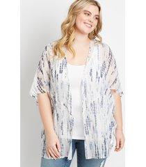 maurices plus size womens white metallic tie dye kimono