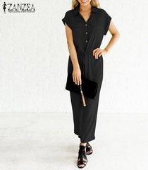 zanzea botones de manga corta para mujer solapa catsuit tops túnicas mono mono de mameluco -negro