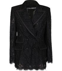 dolce & gabbana black viscose-cotton blend blazer
