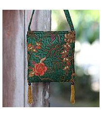 beaded cotton batik shoulder bag, 'princess art' (indonesia)