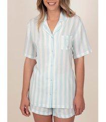 pyjama's / nachthemden admas pyjama shirt kort classic stripes blauw