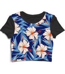 blusa feminina cropped tshirt flores floral flor florida rosas - feminino