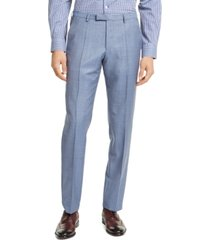 hugo hugo boss men's slim-fit light blue stepweave suit pants