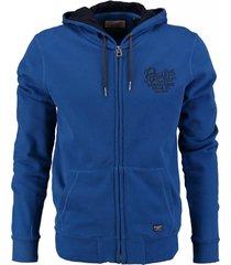 petrol blauw sweatvest hoodie
