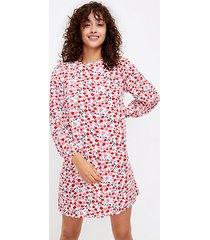 loft petite cherry balloon sleeve swing dress