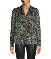cooper & ella women's floral-print button-front top - black green - size xl