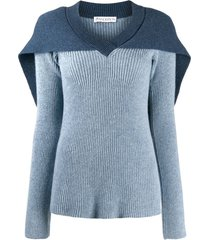 jw anderson cape knitted jumper - blue