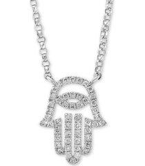 "effy diamond hamsa hand 18"" pendant necklace (1/6 ct. t.w.) in 14k white gold"