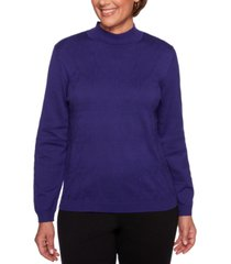 alfred dunner petite classics textured mock-neck sweater