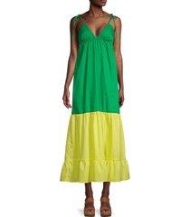 love ady women's colorblock maxi dress - bright yellow green - size m
