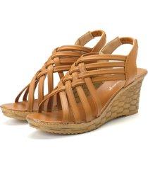 sandali gladiatore a punta aperta con sandali rovesciati con zeppa
