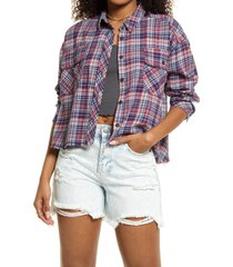 women's bp. plaid frayed hem crop shirt, size medium - blue