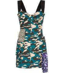 natasha zinko camo print bustier mini dress - blue
