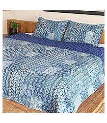 cotton bedspread and pillow shams, 'kantha charm in indigo' (3 piece) (india)