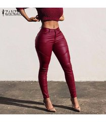 zanzea pantalones largos de mujer pu cuero ajustado bodycon skinny pencil slim leggings pantalones -rojo