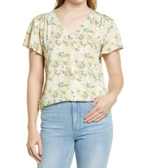 caslon(r) dobby flutter sleeve top, size xx-small in yellow- ivory floral camo at nordstrom