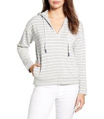 women's vineyard vines break stripe dreamcloth hoodie, size medium - grey