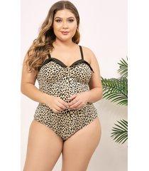 body sin mangas con estampado de leopardo y talla grande