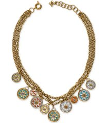 """patricia nash two-tone compass triple-chain charm necklace, 23-1/2"""" + 3"""" extender"""