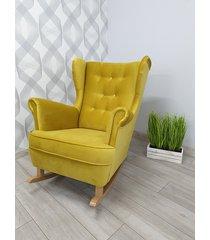 fotel bujany prestige żółty plusz