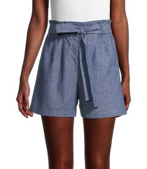 bcbgmaxazria women's chambray paperbag shorts - blue - size xxs
