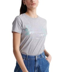 superdry vintage inspired logo stitch sequin t-shirt