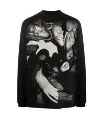 424 camiseta mangas longas com estampa fotográfica - preto