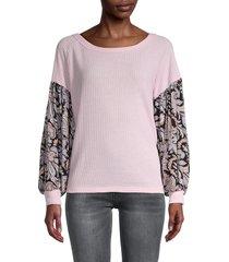baea women's paisley-print thermo sweater - ballerina - size l