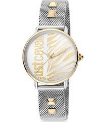 animal two-tone stainless steel mesh-strap zebra-stripe watch