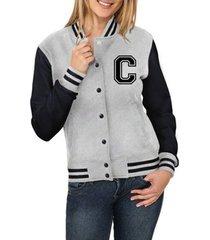 jaqueta criativa urbana college americana letra c