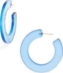 women's sterling forever acrylic hoop earrings
