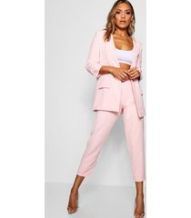 toelopende broek met brede riem en rechte pijpen, soft pink