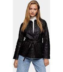 black belted quilted pu jacket - black