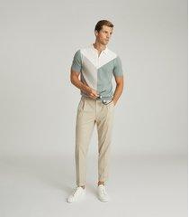 reiss stoke - pleat front trousers in oatmeal, mens, size 38