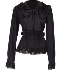 black lace ruffle bow retro gothic victorian long sleeve cotton lolita blouse