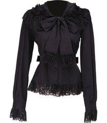 black lace ruffle bow retro gothic victorian long sleeve cotton lolita blouse