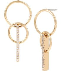 bcbgeneration gold-tone double circle & pave bar drop earrings