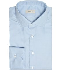 camicia da uomo su misura, canclini, easy iron azzurro pied de poule, quattro stagioni | lanieri